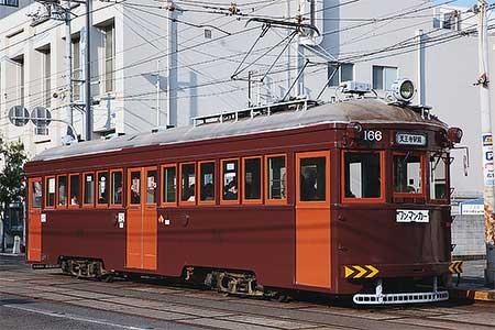 阪堺電気軌道モ166が塗装変更
