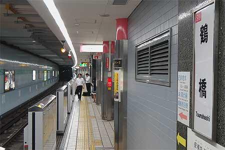 千日前線鶴橋駅に可動式ホーム柵が設置される