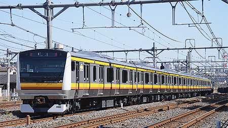 南武線向けE233系8000番台N1編成が配給輸送される