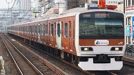 E231系トウ514編成に東京駅開業100周年記念のラッピング