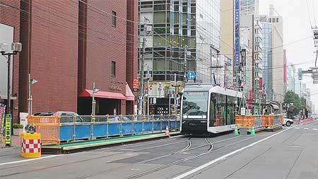札幌市電西4丁目電停,ループ化工事にともない一時移設
