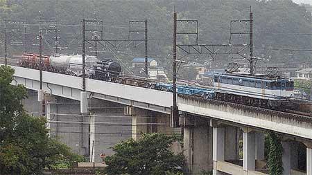 配6794列車にタキ1900形・ホキ1000形・タキ143645・タキ1200形が連結される