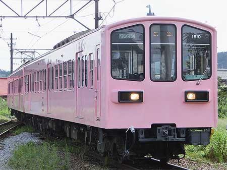 近江鉄道800形810編成がピンク色に