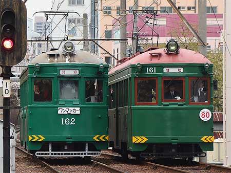 阪堺電軌でモ161形の貸切列車が2本走る