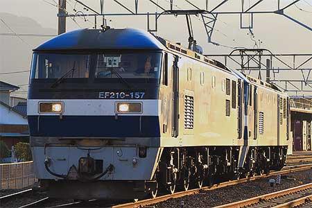 予讃線でEF210形機関車の重連単機が運転される