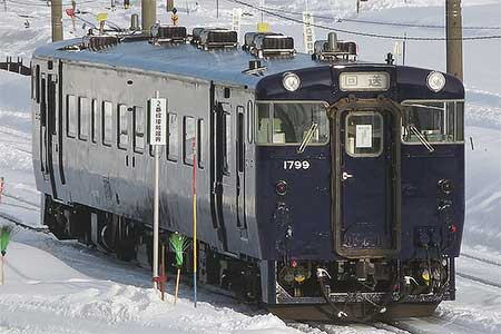 キハ40 1799が道南いさりび鉄道「ながまれ号」塗装に塗装変更される