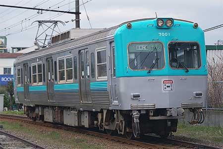 岳南電車7000系7001号車が京王井の頭線ふうカラーに