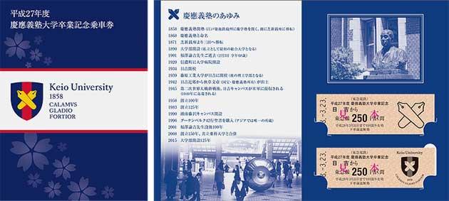 東急電鉄「平成27年度 慶應義塾大学卒業記念乗車券」発売