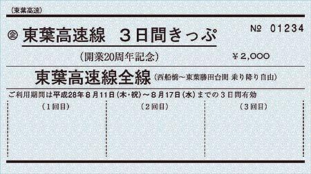 東葉高速鉄道「東葉高速線 開業20周年記念 3日間きっぷ」発売