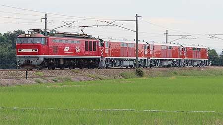 JR西日本キヤ143形3両が甲種輸送される