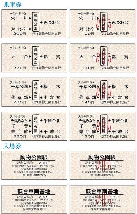 「ちばモノレール祭り2016」記念硬券乗車券・入場券発売