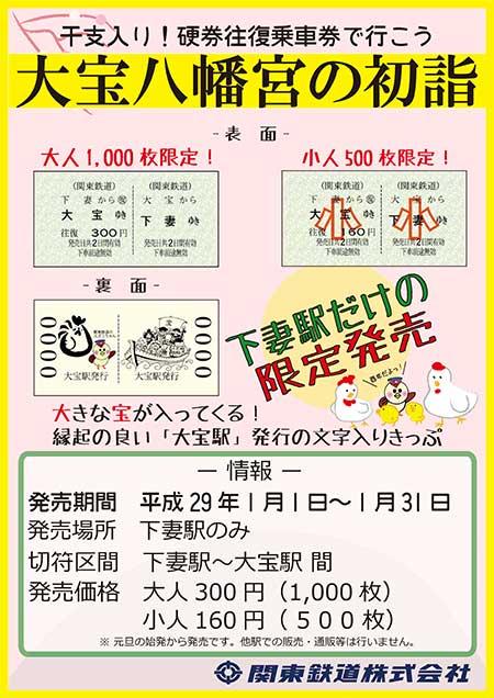 関東鉄道「新春大宝往復乗車券」発売