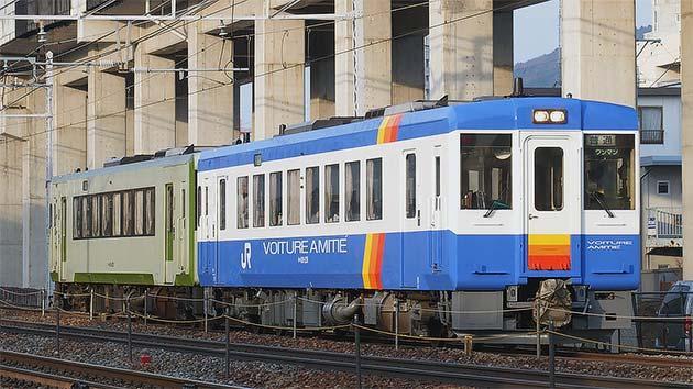 飯山線に「VOITURE AMITIE'」カラーのキハ110が登場