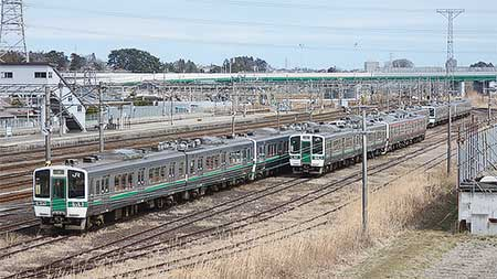719系が陸前山王駅構内に疎開留置される