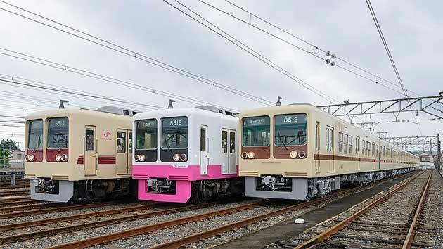 新京成8000形が茶色帯のリバイバルカラーに