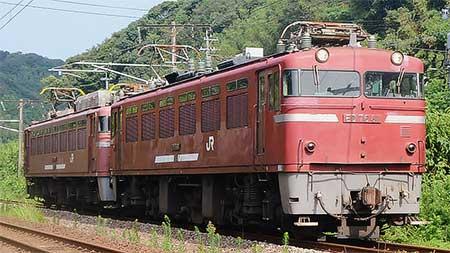 鹿児島本線でED76形とEF81形の重連単機送込み