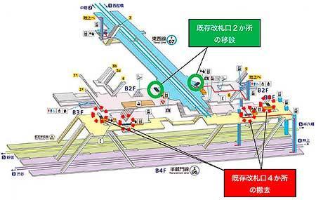 改良工事前の九段下駅構内図