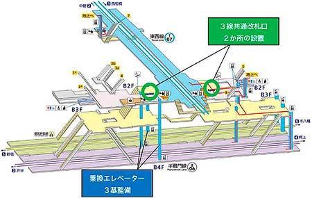 改良工事後の九段下駅構内図