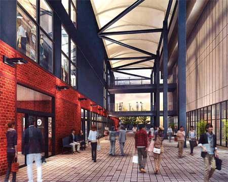 駅舎および新規商業施設連絡通路の2018(平成30)年3月末時点のイメージ