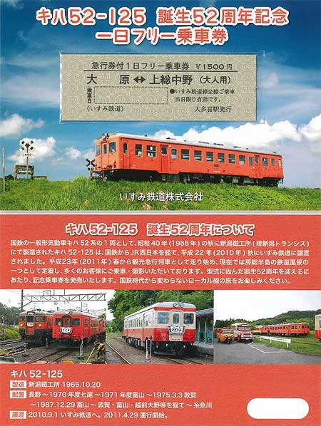 キハ52-125誕生52周年記念急行券付一日フリー乗車券