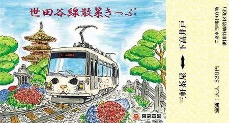 「世田谷線散策きっぷ」の特別絵柄券(大人用)