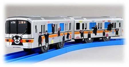 熊本電鉄,くまモンのラッピング電車「01形プラレール」発売