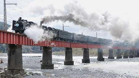 大井川鐵道で蒸機の重連運転
