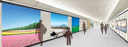 新千歳空港ターミナルビルから新千歳空港駅へつながる連絡通路のイメージ