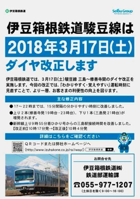 伊豆箱根鉄道駿豆線,3月17日のダイヤ改正内容を発表