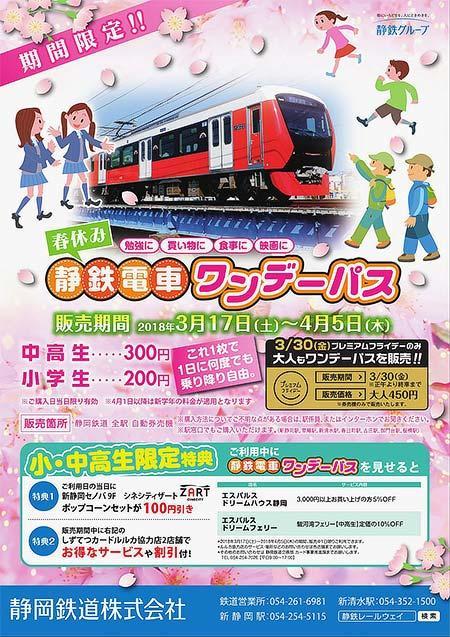 静岡鉄道「春休み静鉄電車ワンデーパス」発売