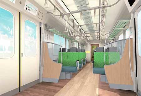 クロスシート状態とした6020系の内装イメージ(東京急行電鉄提供)