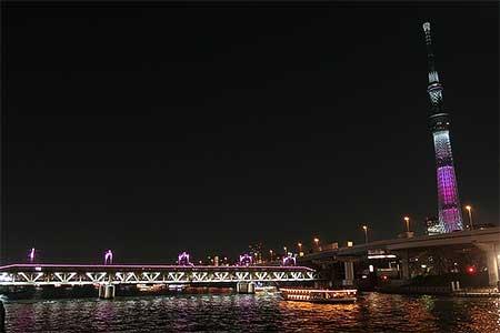 東武鉄道で隅田川橋梁のライトアップ