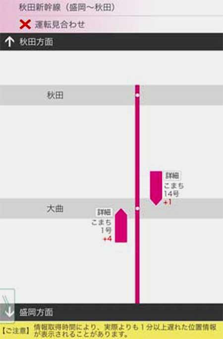 秋田新幹線の列車名・現在位置・遅れ時分表示