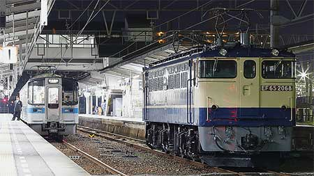 EF65 2068が国鉄特急色に復刻後,松山へ初入線