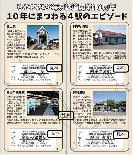 ひたちなか海浜鉄道開業10周年記念入場券(中面)
