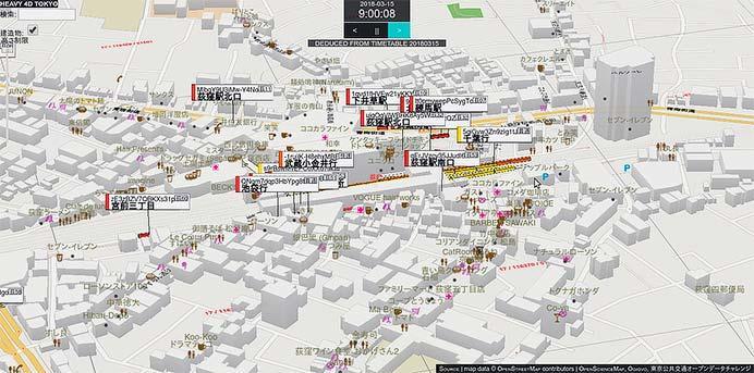 オギクボ開発,東京の鉄道・バスを可視化する4次元地図「HEAVY 4D TOKYO」を開発