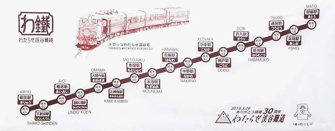 わたらせ渓谷鐵道「わ鐵の手ぬぐい(5代目・30周年記念)」発売