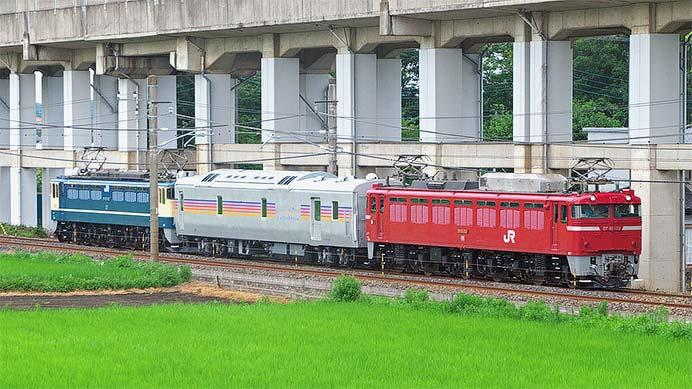 EF65 1102+カヤ27 1+EF81 139の訓練列車運転