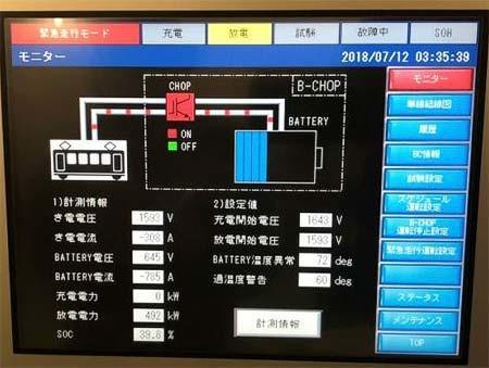 緊急走行時の回生電力貯蔵装置 制御画面