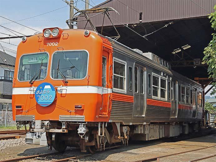 岳南富士岡駅車庫でモハ7002が展示される