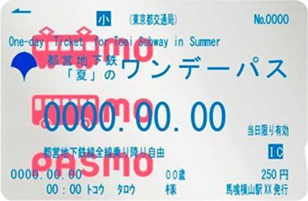 都営地下鉄「夏」のワンデーパス(記名パスモ)小児券イメージ