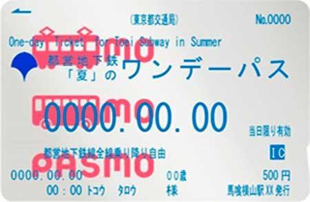 都営地下鉄「夏」のワンデーパス(記名パスモ)大人券イメージ