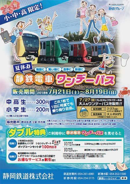 静鉄「夏休み静鉄電車ワンデーパス」発売