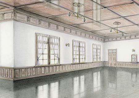 2階食堂の内観復原イメージ