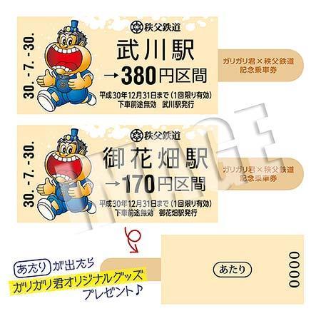 『「ガリガリ君×秩父鉄道」記念乗車券』券面イメージ