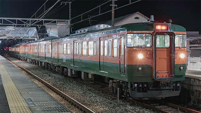 岡山電車区115系湘南色同士の6連が運転される