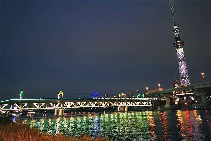東武隅田川橋梁で『浅草サンバカーニバル』特別ライティング