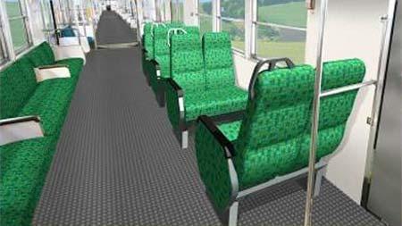 3両編成では,中間車に8席のクロスシートが設置される