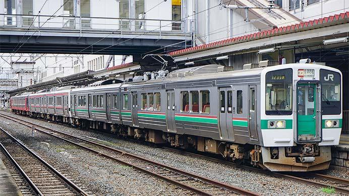 磐越西線で719系3色が連結して運転される