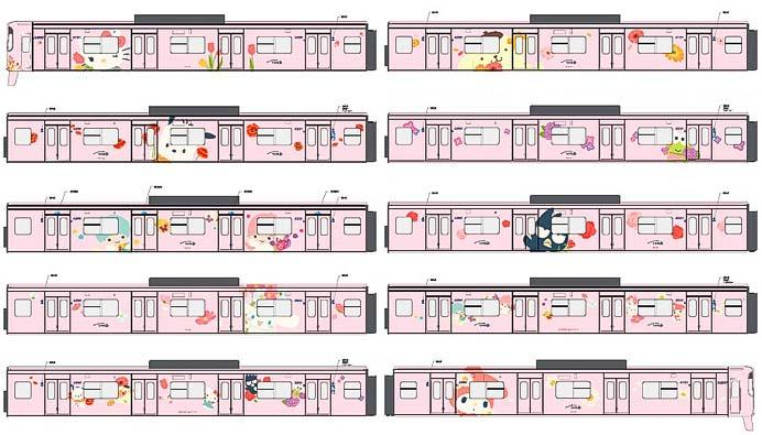 京王,11月1日からサンリオキャラクターのフルラッピングトレインを運転